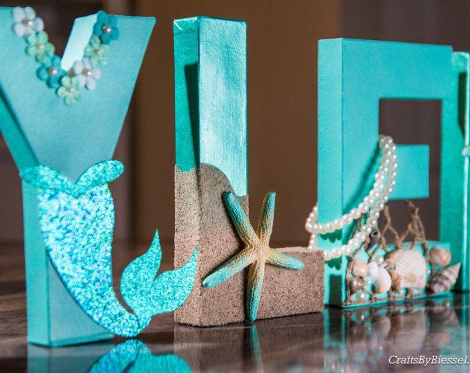 """Letras de sirena océano foto Prop, casa de playa, centro de mesa, 8"""" independiente letras, cartas personalizadas, Baby Shower, despedida de soltera, cumpleaños"""