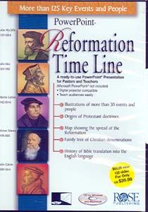 PowerPoint-Reformation Time Line - A ready-to-use PowerPoint presentation for pastors and teachers. Microsoft PowerPoint not included. Digital projector compatible. Teach audiences easily. Presentation includes: Illustrations of more than 30 events and people; Origins of Protestant doctrines; Map showing the spread of the Reformation; Family tree of Christian denominations; and History of Bible translation into the English language.
