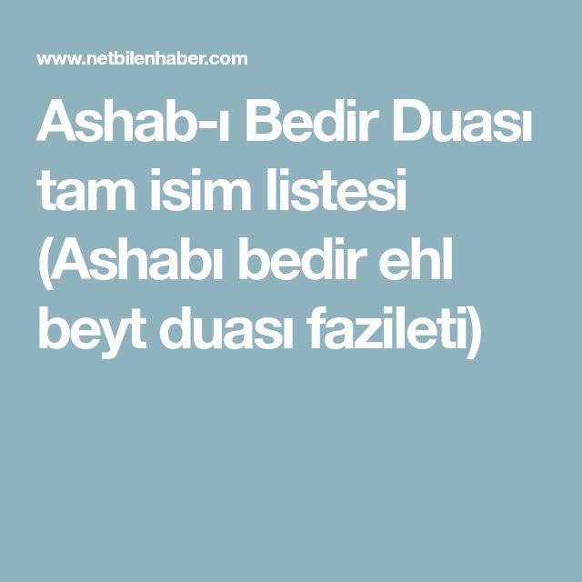 Ashab-ı Bedir Duası tam isim listesi (Ashabı bedir ehl beyt duası fazileti)