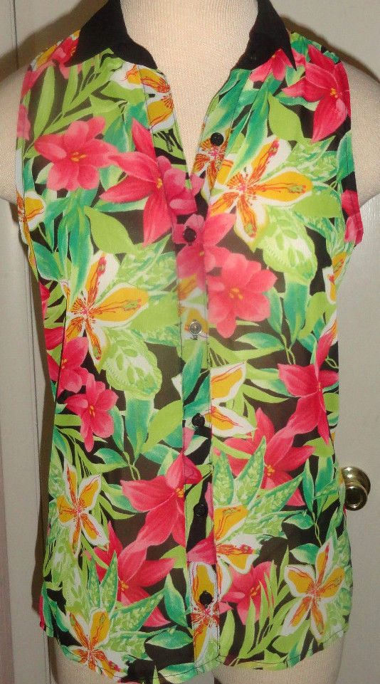 Ladies Six Degrees Floral Sleeveless Top Sheer Blouse Juniors Sizes XS, S, M #SixDegrees #Blouse