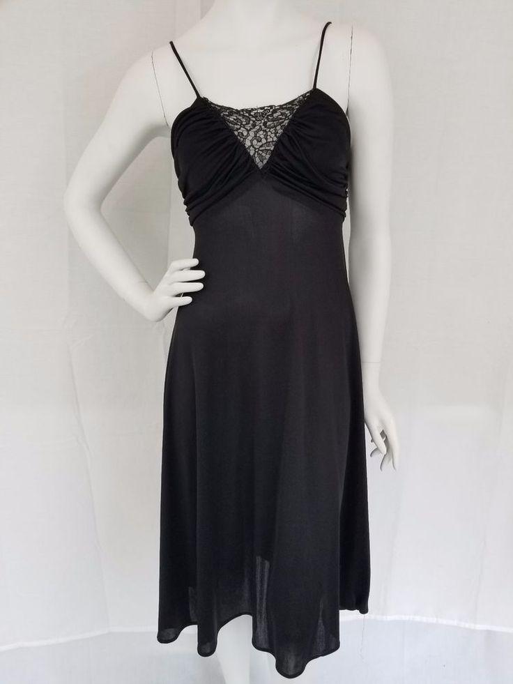 Vtg 70s Grecian Goddess Black Dress Nightgown Negligee Boho Disco Crochet S #Unbranded