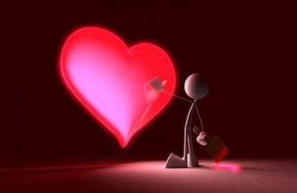 3d, legrační, dotkneš mého srdce, milující srdce, červená, kartáč, malý člověk