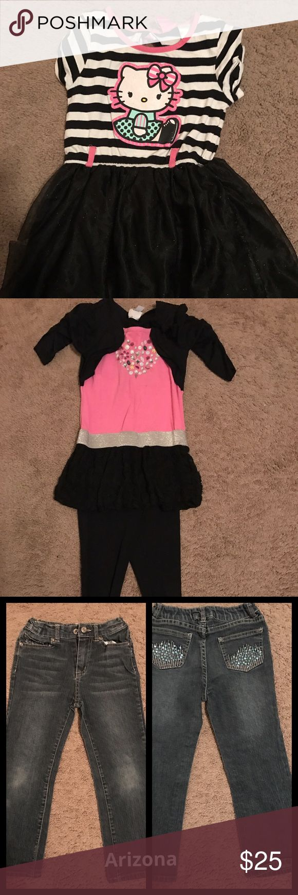 Girls 8 Piece bundle size 6/6x This bundle includes: 1 Hello Kitty Tutu dress 1 piper 2 Piece black and pink heart outfit 1 pair of Arizona jeans 1 Purple Heart T-shirt 1 Disney Resorts T-shirt 1 Hello Kitty shirt 1 pair of Frozen leggings   All items are size 6/6x. I did not see any stains or holes. They come from a smoke free and pet free home. Other