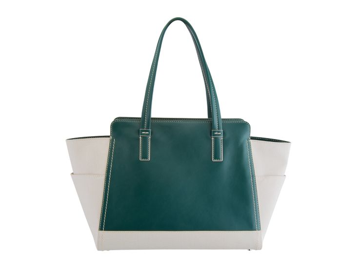 This beautiful tote is a perfect combination of soft textured Italian calf leather in white and pastel green, decorated with impeccable white stitches.  The spacious design of the Natalia bag will be in good use, holding an iPad, cosmetics case, wallet and all the other daily essentials. It can be the best choice when you need to add style not only to everyday looks but also the weekends away.