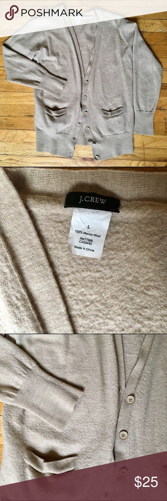J.Crew Beige Cardigan 100% Merino Wool A beautiful addition to your wardrobe. Like New Condition - except for small snag on back of left arm (as pictured) hardly noticeable. J. Crew Sweaters Cardigans