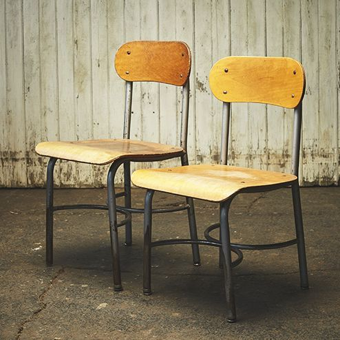 Bent plywood school chairs. Manufactured by Heywood-Wakefield, a company that was particularly popular in the '30s, '40s, and '50s.