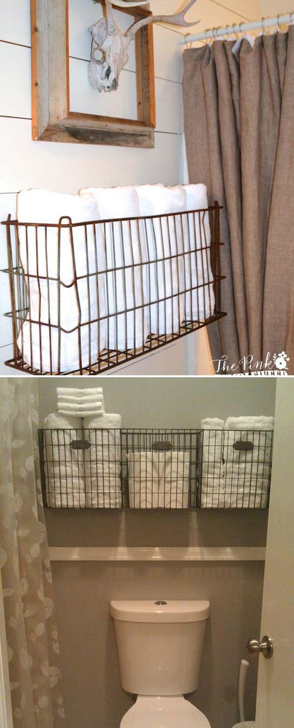 21 Storage Pieces To Add Farmhouse Style To Bathroom In 2020 Bathroom Basket Storage Wire Basket Storage Diy Bathroom Storage
