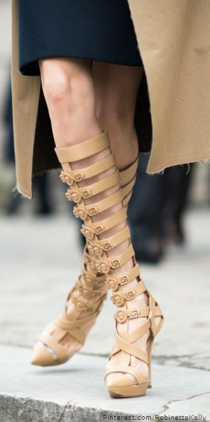 Street Style Paris | Versace nude hees shoes boots gladiator style ♥✤ | KeepSmiling | BeStayClassy