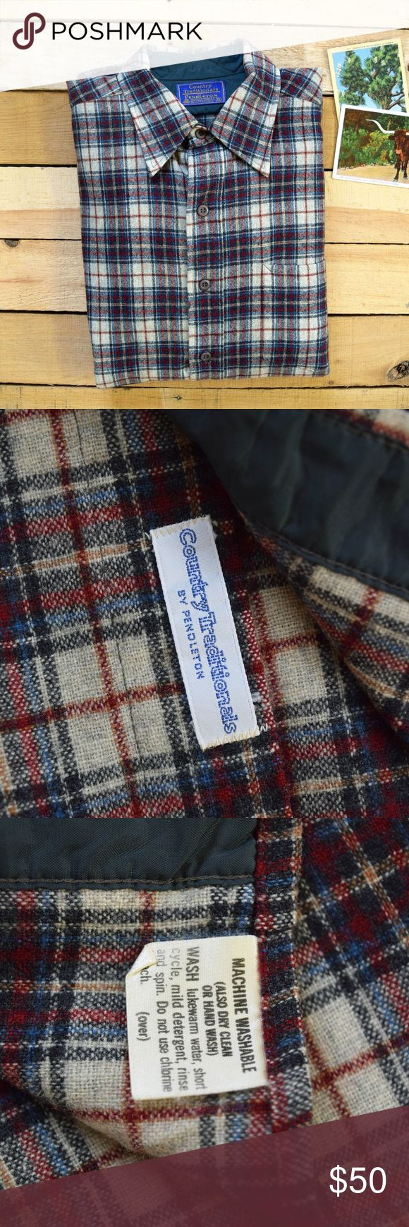 """Vintage PENDLETON M Men's Wool Fireside Shirt 80s """"Country Traditionals"""" Pendleton Wool Fireside shirt in a men's Medium. The plaid is a nice classic combination of light gray, navy blue, dark red, with accents of light blue and light brown. There is a small spot approx .25"""" by the third button down. It is not very noticeable as the shirt is heavily patterned.   Shoulder seam to Shoulder seam- 18"""" Chest- 21"""" across Waist- 20"""" across Sleeve Length from shoulder seam- 22.5"""" Total length- 30.5""""…"""