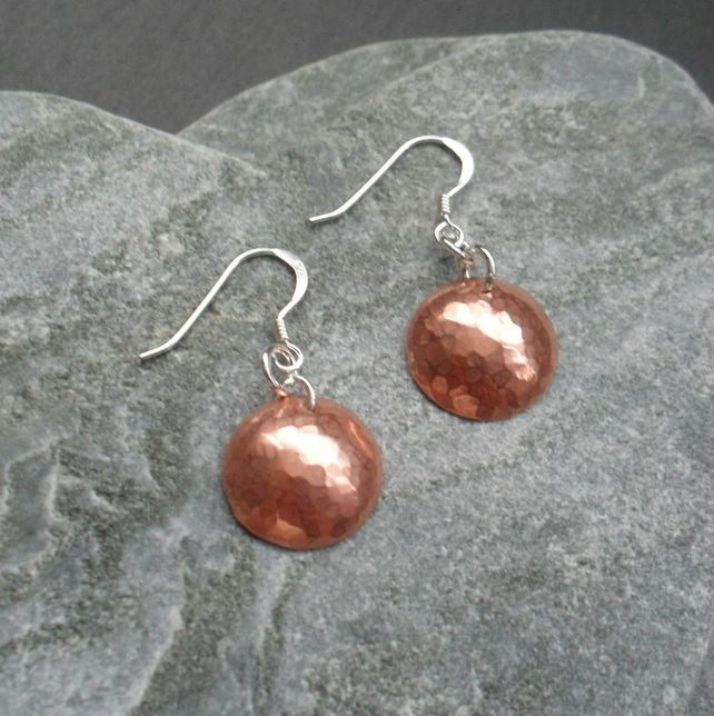 79d839a68 Small Copper Disc Earrings With Sterling Silver Ear Wires £7.50 #folksy  #folksyshop #folksy365 #folksysellers #folksyfinds #britishcrafters  #tweetmaster