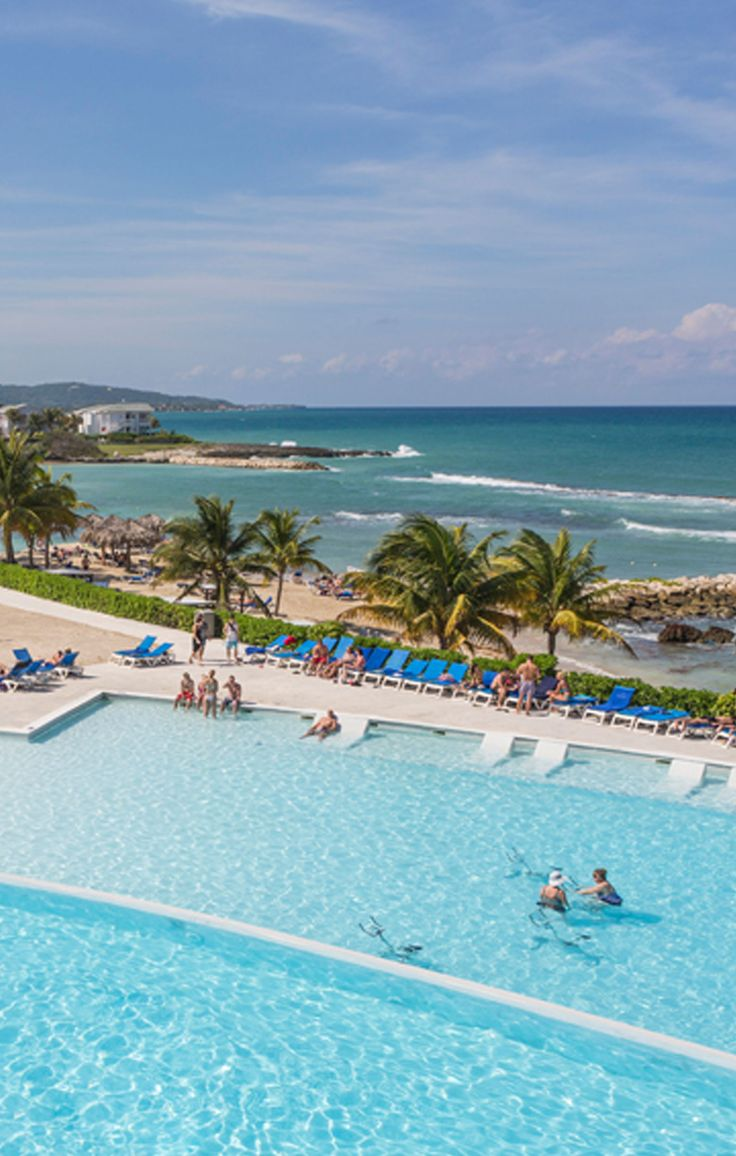 At the all-inclusive Grand Palladium Resort in Montego Bay, Jamaica, you can swim in an infinity pool that reaches toward the Caribbean