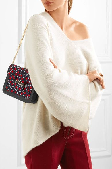 Vanessa Seward - Camelia Printed Canvas And Leather Shoulder Bag - Midnight blue - one size