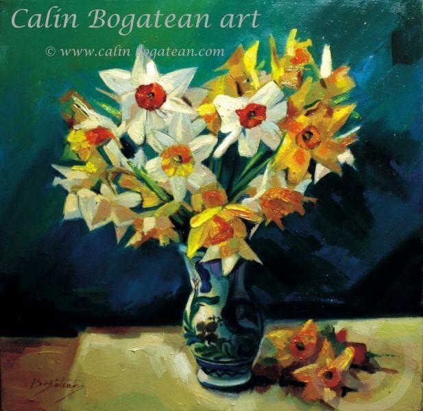Narcise albe și galbene n cană de lut pictură în ulei pe pânză natură statică tablou realist pictură hiperrealistă lucrare originală de artă pictată de pictorul profesionist Călin Bogătean membru al Uniunii Artiștilor Plastici Profesioniști din România.  Picturi cu flori tablouri florale flori pictate pe panza natură moartă pe pânză natură statică picturi flori