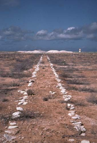 Remains of a guano tramway on Jarvis Island, looking west with 125-year-old heaps of mined but never-shipped guano in the background near the day beacon