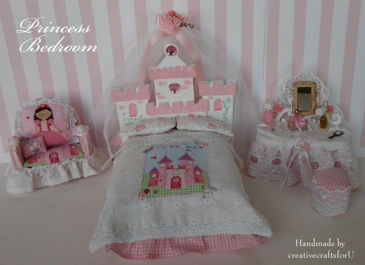Princess Bedroom Set, Girls Bed,Dressing Table & Chair. Dollhouse Girls Dressed Canopy Bed + Bedding, OOAK, Handmade 1/12th Scale by creativecraftsforU on Etsy https://www.etsy.com/listing/233786330/princess-bedroom-set-girls-beddressing