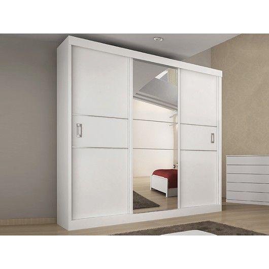 Armário 3 Portas de Correr com Espelho Central, Branco Fosco, Limiti II - toqueacampainha