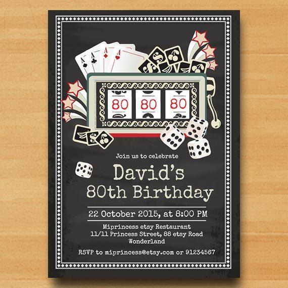 Casino vintage invitation Slot machine birthday party ...