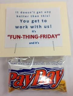 Teacher appreciation gifts using PayDay candy.  Its Payday!  Free printable template.