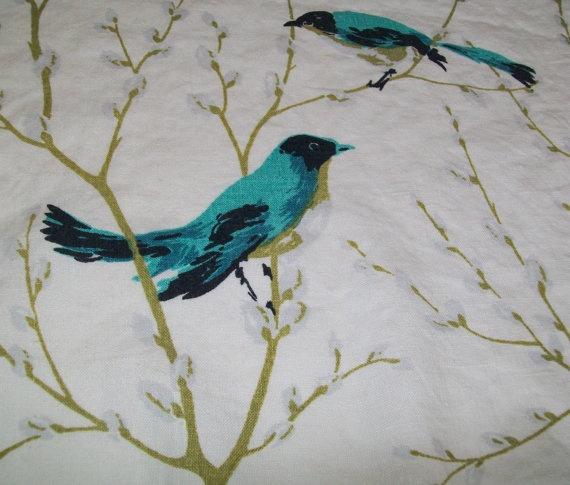 Vintage linen blue bird tablecloth midcentury by BlueSkyLane