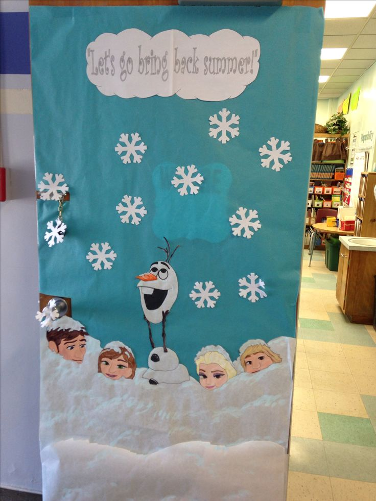 We had a Disney themed door decorating contest. This especially seemed appropriate as it was still snowing in April.