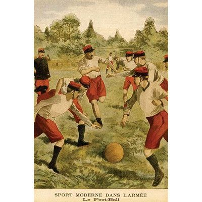 "Buyenlarge 'Le Foot-Ball Sport Moderne Dans L'Armee' Painting Print Size: 30"" H x 20"" W x 1.5"" D"