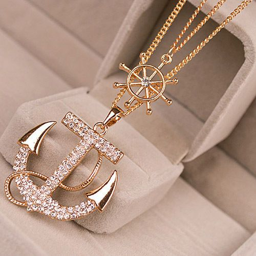 New Fashion Women Lady Girl Alloy Diament Anchor Sweater Chain Necklace Pendant #bigdealforyou2014us #Chain