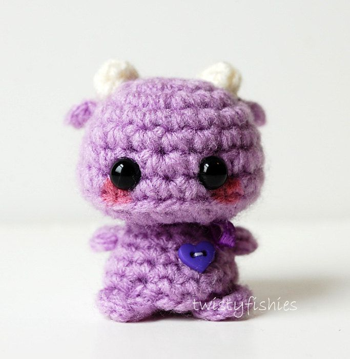 Mini Purple Monster - Kawaii Amigurumi Plush.