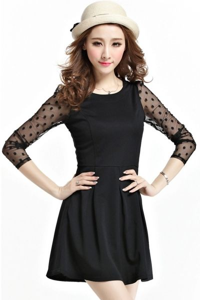 Dotted Mesh Sleeve A-line Dress OASAP.com