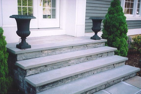 Front steps with stone veneer