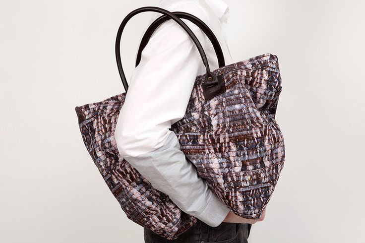 A prototype tote bag made from Aragonite linen with leather handles. editions@pinakistudios.com.