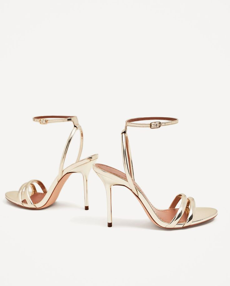 Image 1 of GOLDEN STRAPPY HIGH HEEL SANDALS from Zara