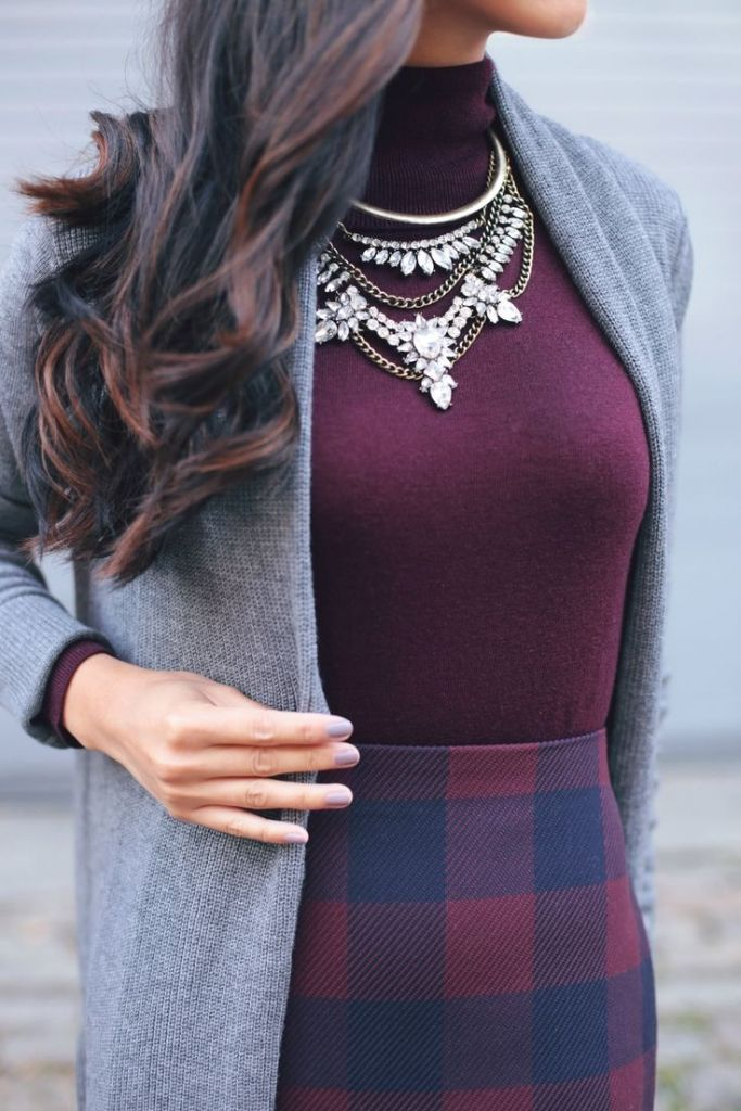 #winter #fashion / burgundy + plaid