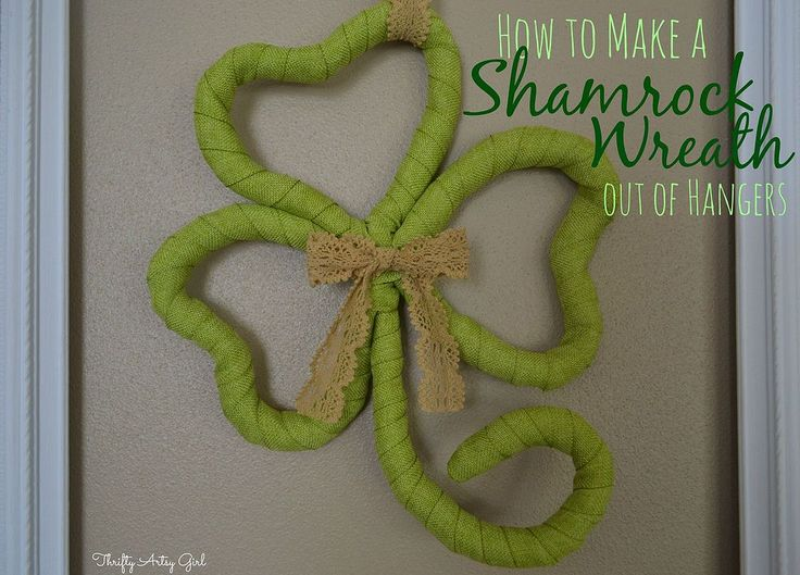St Patrick's Day Shamrock Wreath Made From Hangers