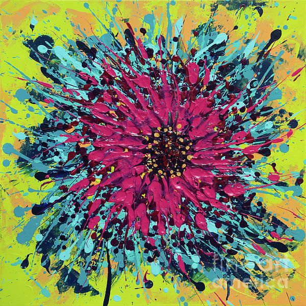 Abstract vibrant colors exploding, original acrylic splash painting by Alexandra Kiczuk.
