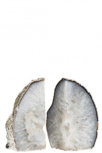 Silver Trim Agate Bookends  | Calypso St. Barth