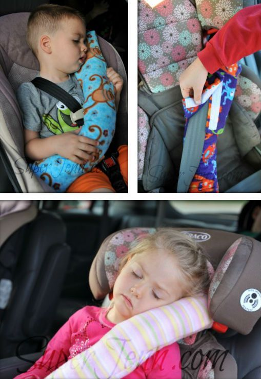 Very clever pillow attached to the safety belt with velcro. Now children can sleep peacefully in the car :)