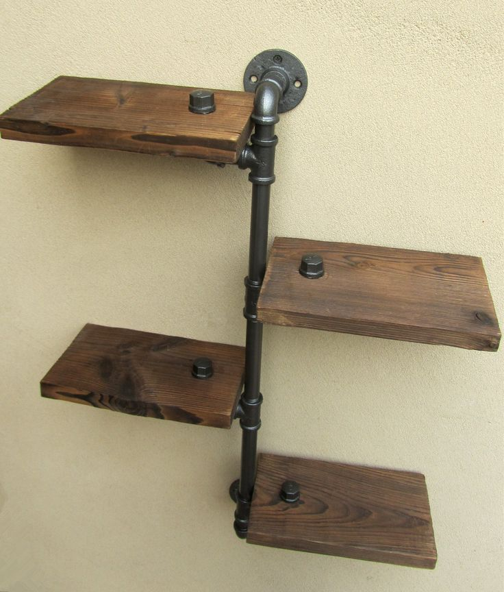 Industrial Rustic Urban Iron Pipe Wall Shelf 4 Tiers Wooden Board Shelving Home Restaurant Bar Shop Decor Storage