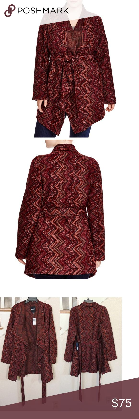 """Maroon Chevron Wrap Tie Jacket ** Reasonable Offers Welcome - No Trades**  Size 2x = 18w - 20w --34"""" length - 65% polyester, 32% acrylic, 3% wool - Rust, maroon and black hued chevron printed jacket with oversized collar and tie wrap closure. Equipped with double side pockets and asymmetrical hemline. BB Dakota Jackets & Coats"""