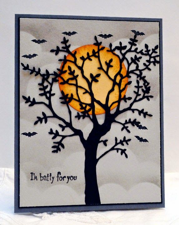 handmade halloween card batty for you - Handmade Halloween Cards Pinterest