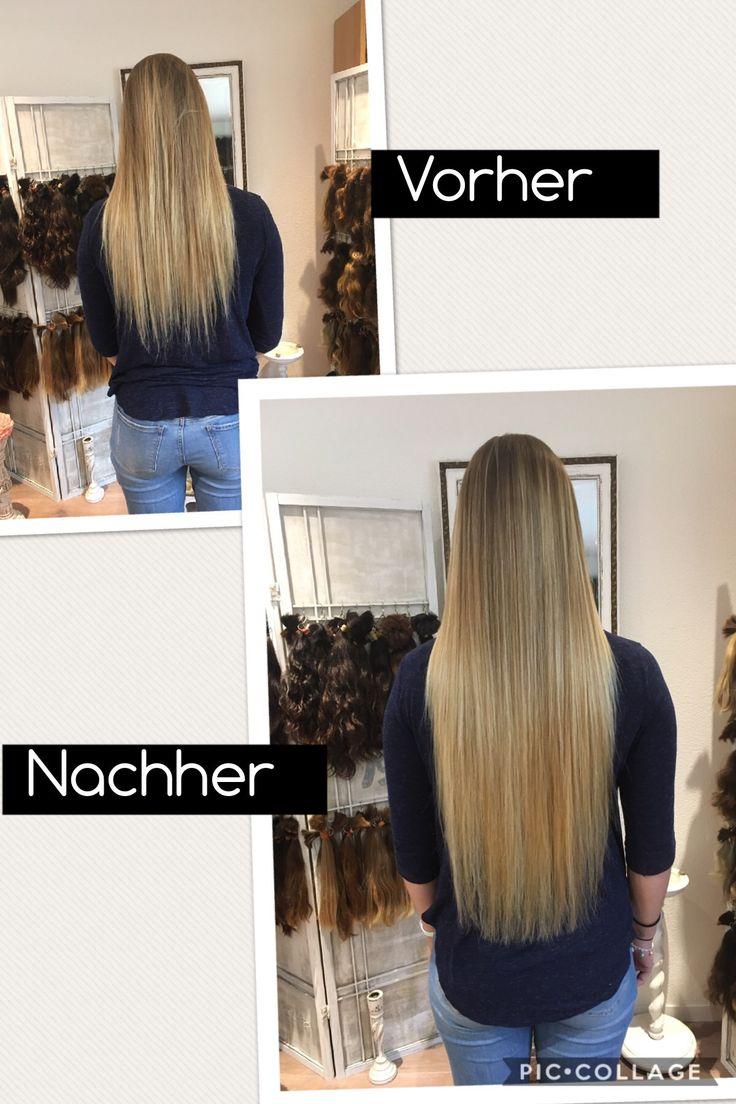 Haarverlängerung vorher/nachher