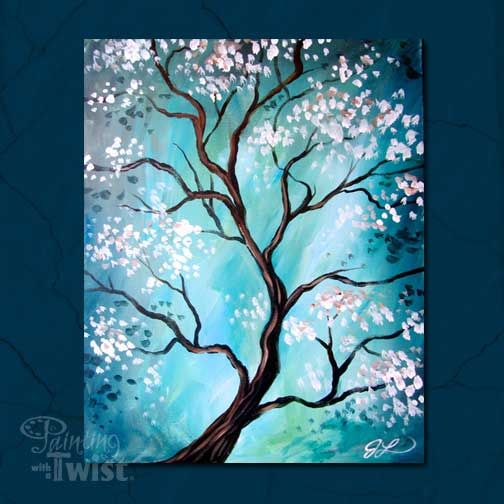 """Zen Tree"" 10/22 @ 6:30p - Find peace and harmony while painting this painting (a little wine also helps!)  #PWATIndy"