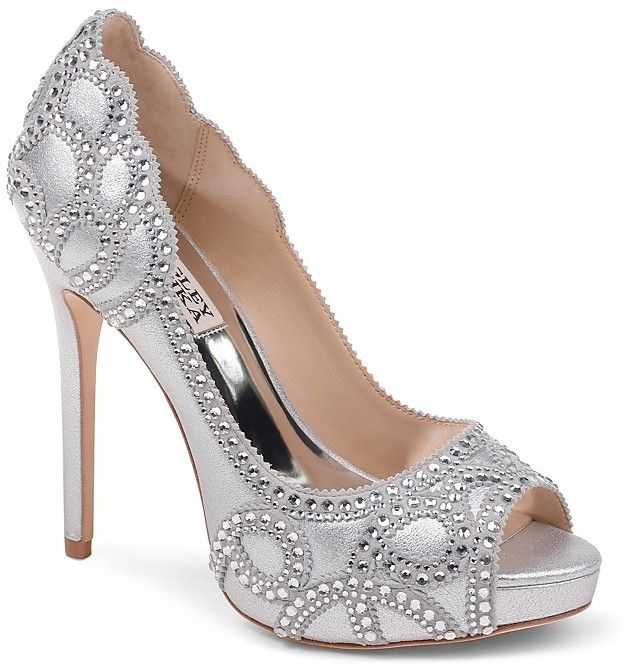 Badgley Mischka Women's Witney Embellished Satin & Mesh Platform High Heel Pumps