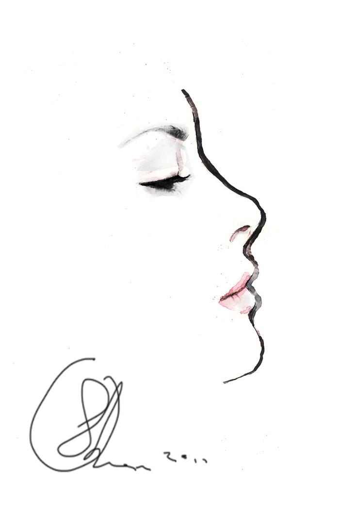 AFFORDABLE ONLINE - Face Fashion Illustration Art Print 8x11. £8.92, via Etsy.