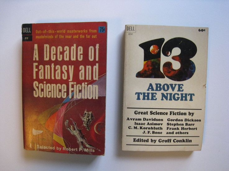 2 vintage science fiction short story collections, 1960s. A Decade of Fantasy and Science Fiction, and 13 Above the Night. by PickleladyPapers on Etsy