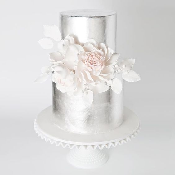 Silver metallic wedding cake - For all your cake decorating supplies, please visit craftcompany.co.uk