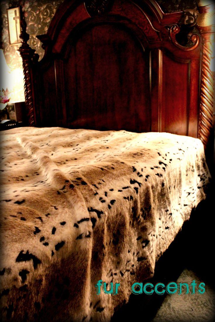 Snow Lynx Fur Bed Spread Throw Blanket King Bedspread Faux