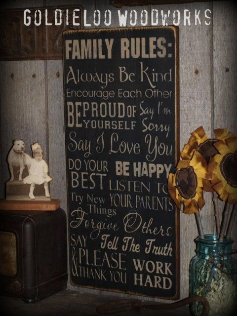 Family Rules Typography Word Art Subway Art Primitive Wall Sign