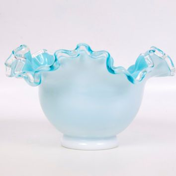 17 Best images about FENTON Aqua Crest on Pinterest ... Ruffled Art Glass Vase With Silver Handle