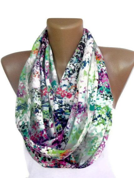 Infinity Scarf Mixed  colorful women scarves , cute scarf , chiffon fabric , for her. $15.00, via Etsy.