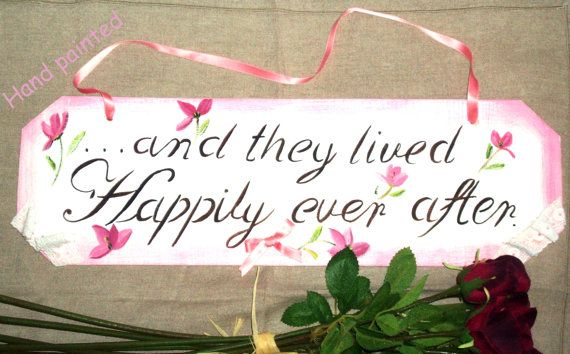 White HAND PAINTED Wedding Signs,... and they lived......with ribbon and lace ornemement